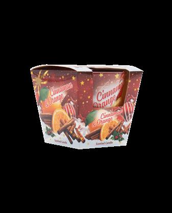 სურათი სურნელოვანი სანთელი ნარინჯისფერი დარიჩინის მინის თასში 115 გრ